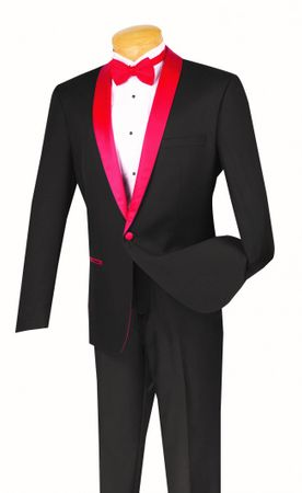 Slim Fit Tuxedo Mens Black Red Lapel Jacket 1 Button  VINCI S1SH-2