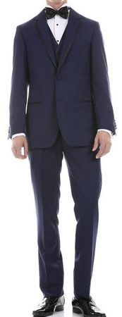 Ferrecci Mens Slim Fit Navy Trim Tuxedo Suit Celio