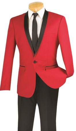 Slim Fit Tuxedo Mens Red 1 Button Tux Vinci T-SS