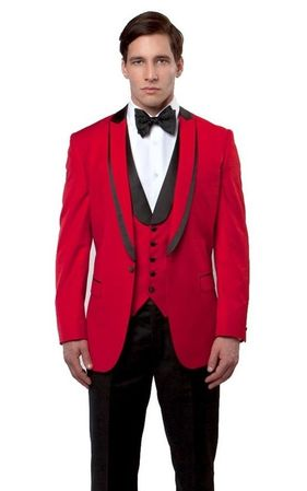 Mens Red Black Slim Fit Tuxedo Prom Bryan Michaels MT239S-04