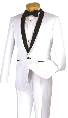 Slim Fit Tuxedo Mens White Black 1 Button Tux Vinci T-SS