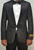 Mens Black Floral Swirl Tuxedo Jacket Alberto Smoking-2