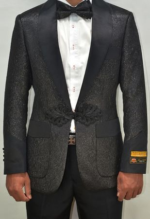 Mens Black Floral Swirl Modern Fit Tuxedo Jacket Alberto Smoking-2