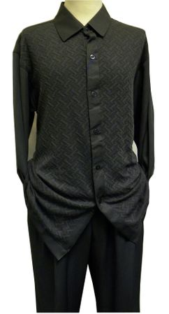 Tony Blake Gray Knit Front Walking Suits LS364 - click to enlarge
