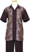 Pronti Mens Black Short Sleeve Outfit Palm Pattern SP5888