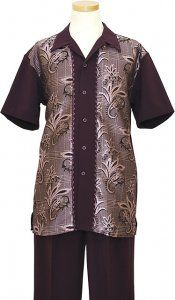 Pronti Mens Black Short Sleeve Outfit Palm Pattern SP5888 (IS)