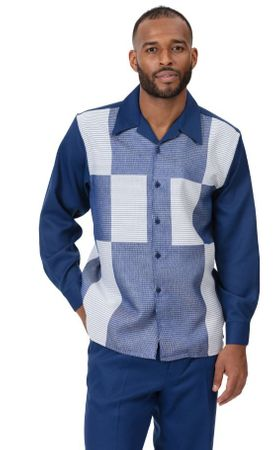 Montique Mens Casual Outfit Navy Block Pattern 2pc 2008