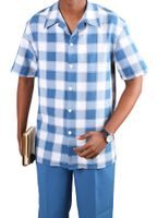 Jazz Mens Short Sleeve 2 Piece Casual Outfits Blue Plaid PLCS-2