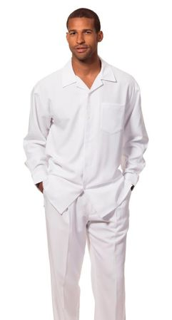 Montique All White Outfits for Men Long Sleeve 1641