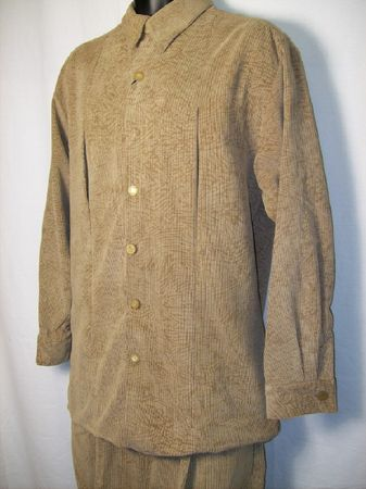 Smokey Joes Mens Beige Shadow Print Corduroy Walking Suit SE439 Size M/32 Only - click to enlarge