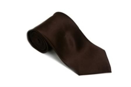 Solid Dark Brown Color Satin  Tie and Hanky Set