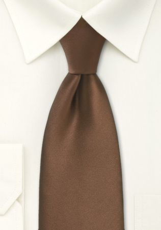 Solid Mocha Brown Color Satin Tie and Hanky Set