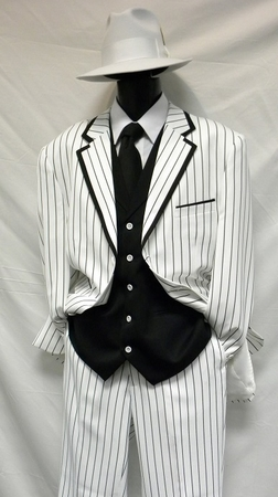 Zoot Suits Mens White with Black Stripe 3 Piece Milano Fortino 5908V Size 40 Reg Reg Final Sale - click to enlarge