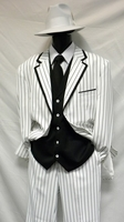 Zoot Suits Mens White with Black Stripe 3 Piece Milano Fortino 5908V Size 40 Reg Reg Final Sale