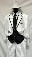 Zoot Suits Mens White with Black Stripe 3 Piece Milano Fortino 5908V Size 40 Reg Final Sale