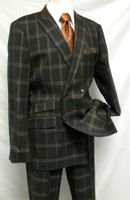 Ferera Men's Brown Flannel Plaid Double Breasted Suit 2451 IS