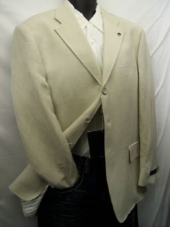 Soprano Mens Tan Linen Blend Blazer M1605 - click to enlarge