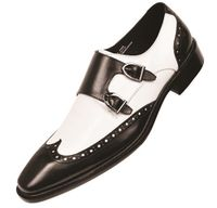 Steven Land Mens Black White Double Buckle Dress Shoes SL118 IS