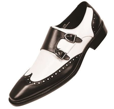 Steven Land Mens Black White Double Buckle Dress Shoes SL118 Size 10
