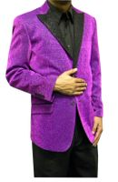 Mens Purple Glitter Blazer Entertainer Style Matching Bow Tie