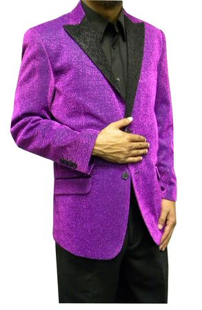 Mens Purple Glitter Blazer Entertainer Style Matching Bow Tie Size 3XL