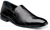 Stacey Adams Mens Shoes Black Crocodile Print Slip Ons Galindo 24996-001 OS