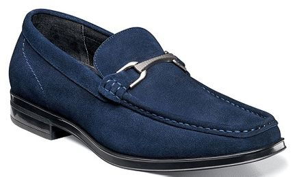 Stacy Adams Blue Suede Loafer Newcomb 25139-415 - click to enlarge