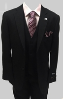 Stacy Adams 3 Piece Suit Black Flat Front Pants Bud Vest 5944-100