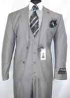 Stacy Adams 3 Piece Suit Gray Flat Front Bud Vest 5944-001