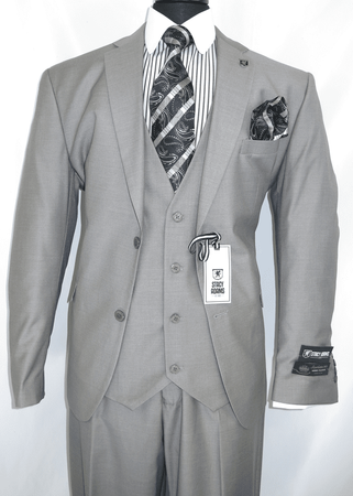 Stacy Adams 3 Piece Suit Gray Flat Front Bud Vest 5944-001  - click to enlarge