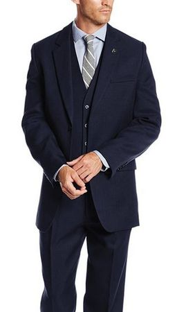 Stacy Adams 3 Piece Suit Mens Dark Blue 1920s Suny Vested 4016-002 - click to enlarge