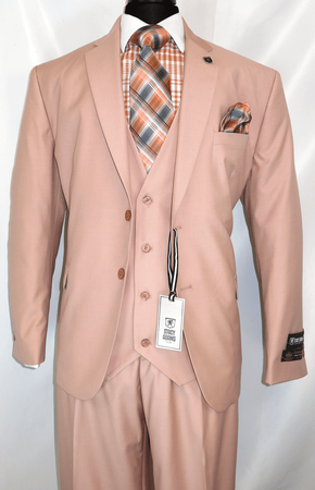 Stacy Adams 3 Piece Suit Pink Flat Front Bud Vest 5944-025