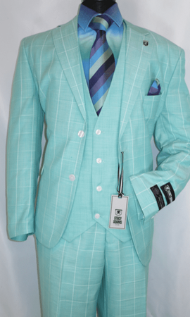 Stacy Adams Mint Green Windowpane Suit Vest Bud Revo 9232