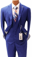 Stacy Adams 3 Piece Suit Royal Blue Flat Front Bud Vest 5944-022