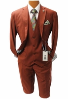 Stacy Adams 3 Piece Suit Rust Flat Front Bud Vest 5944-078