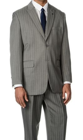 Gangster Suits Mens Gray Stripe 3 Piece Stacy Adams Mars 4017-021 - click to enlarge