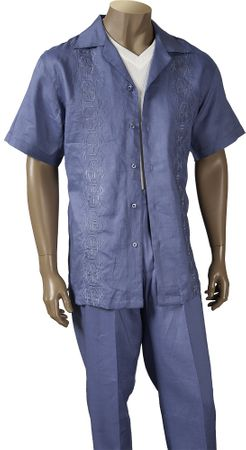 Giorgio Inserti Mens Blue Embroidered Linen 2 Piece Set 77793 - click to enlarge