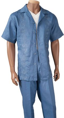 Giorgio Inserti Mens Blue Embroidered Linen 2 Piece Set 77793