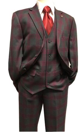 Stacy Adams Charcoal Wine Plaid 1920s 3 Piece Suit Bud 9170-721 IS