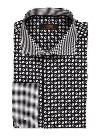 Steven Land Black Dot Pattern Collar Cotton Dress Shirt DA523 - click to enlarge