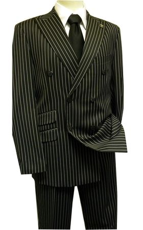 Stacy Adams Black Gangster Stripe Double Breasted Suit 5264-000 IS - click to enlarge