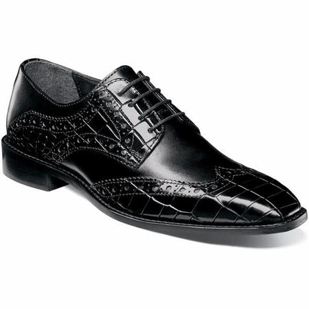 Stacy Adams Black Gator Print Wingtip 25212-001 OS - click to enlarge