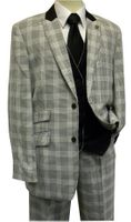 Stacy Adams White Black Plaid Chico 4 Piece Fashion Suit 5564-010 IS