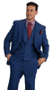 Stacy Adams Navy Wide Stripe 3 Piece Suit Lapel Camel 8198-702 IS
