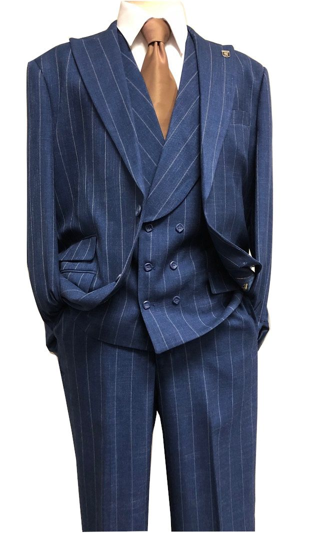 19c9173d Stacy Adams Navy Wide Stripe 3 Piece Suit Lapel Camel 8198-702 IS