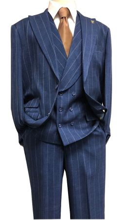 Stacy Adams Navy Wide Stripe 3 Piece Suit Lapel Camel 8198-702 IS - click to enlarge