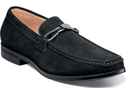Stacy Adams Black Suede Loafers Moc Toe Neville 25224-008
