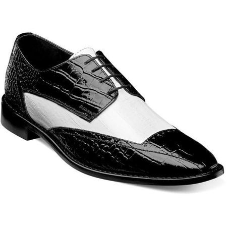Stacy Adams Shoes Black White Alligator Print Wingtip 25366-111 IS