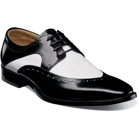 Stacy Adams Men's Shoes Black White Leather Wingtip 25292-111 IS