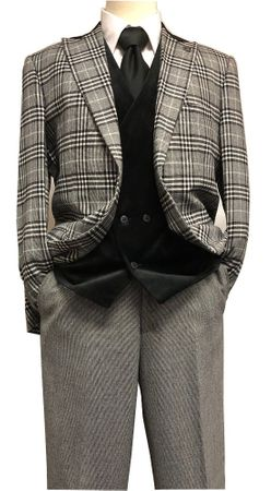 Stacy Adams Black White Plaid Jacket Velvet Vest Suit Roy 8132-700 IS - click to enlarge